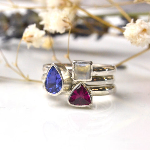 birthstone stacking ring set including a ruby octagon stone - birthstone for July