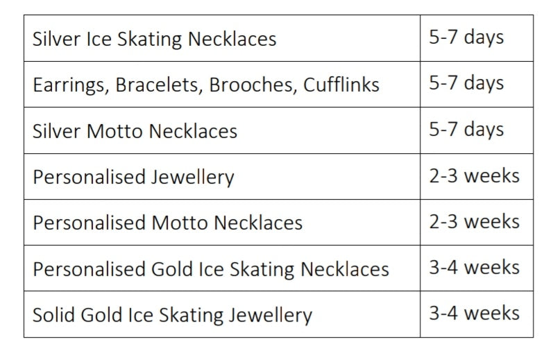 Processing times | Ice Skating Jewellery