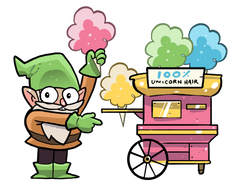 A gnome selling cotton candy, made from 100% unicorn hair!