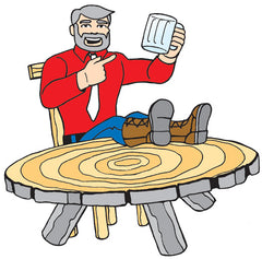 Camp foreman with a stein and their feet on the table