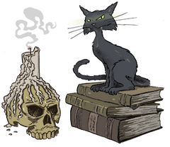 Candle, cat, book, and skull