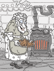 A witchy grandmother with a tempting treat