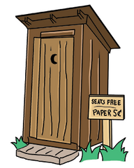 Outhouse with free seats! (And five-cent toilet paper…)