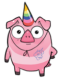 Pigicorn with a tanline from a tank-top shirt