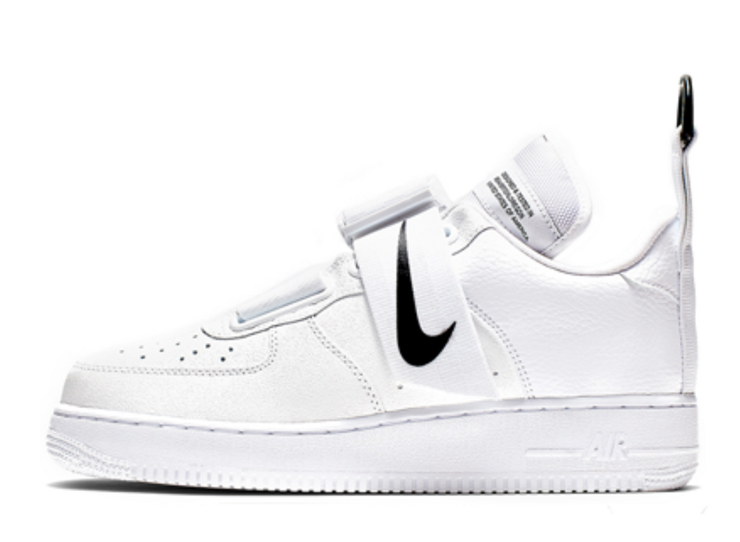 NIKE AIR FORCE 1 UTILITY WHITE BLACK WHITE SOLE