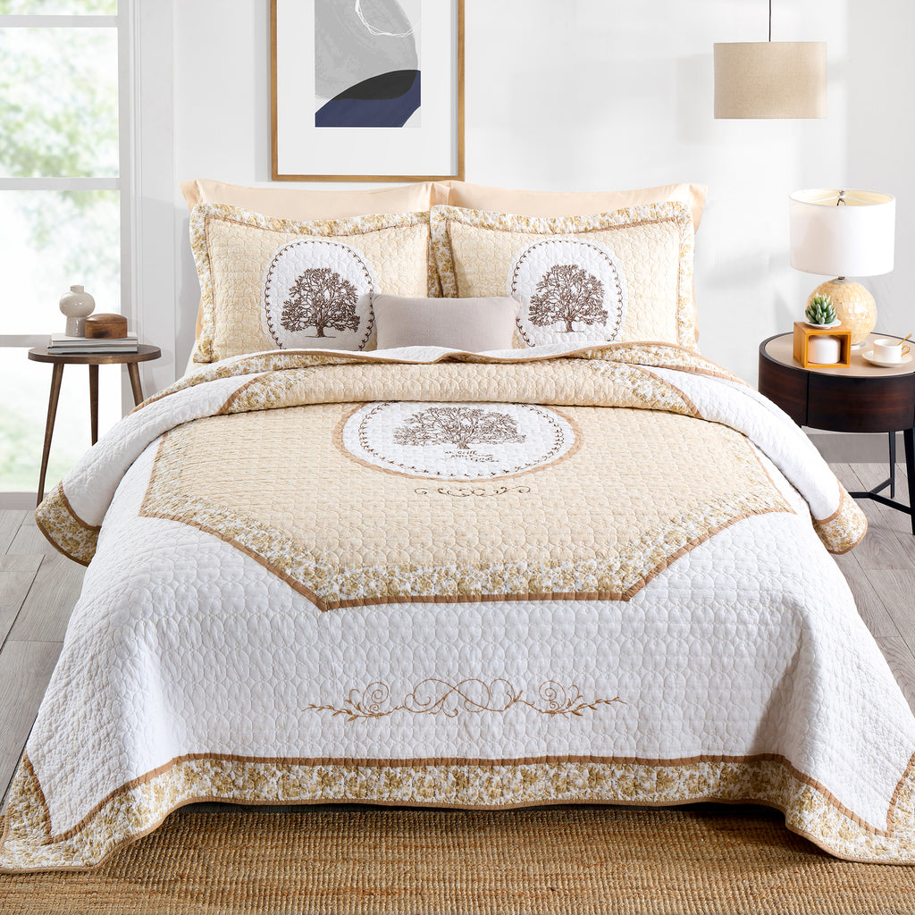 GeeComfy's handmade embroidered cotton quilt set for queen sized bed