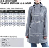 33,000ft Women's Softshell Long Jacket with Hood Fleece Lined Windproof Warm up Waterproof Windbreaker - mwjackets