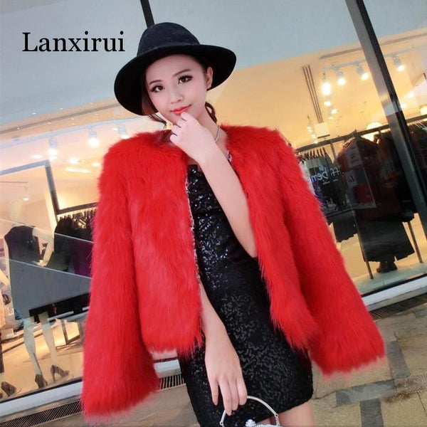 4XL 5XL New arrival Trendy Candy Faux Fur Coat Women Fashion Slim Casual Party Jacket Coats - jackets247.com
