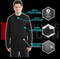 ARECON Mens Sports Running breathable hoodie Jacket stretch Full-Zip Long Sleeve Casual Sweatshirt - jackets247.com