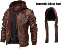 CARWORNIC Men's Faux Leather Jacket Casual Brown Motorcycle Jacket with Removable Hood - jackets247.com
