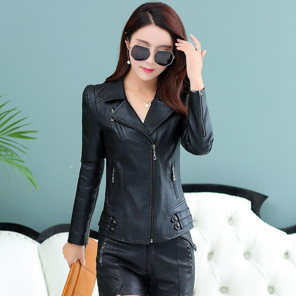 Casual Leather Coat Women Zipper Biker Leather Jacket Female Spring Plus Size S-4XL Slim Ladies Clothing Suede SWREDMI - jackets247.com