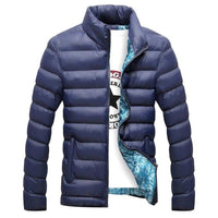Cotton Winter New Winter Coat Side Seam Pocket Solid Color Sports Leisure Training Men's Sports Jacket - jackets247.com