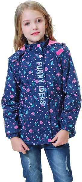 DILIBA Girls' Rain Jackets Lightweight Waterproof Hooded Windbreakers Winter Warm for Kids' Coat 4-12 Years - jackets247.com