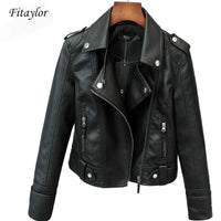 Fitaylor New Spring Autumn Women Short Faux PU Jacket Slim Fashion Punk Outwear Motorcycle Leather Jacket Casual Coat - jackets247.com