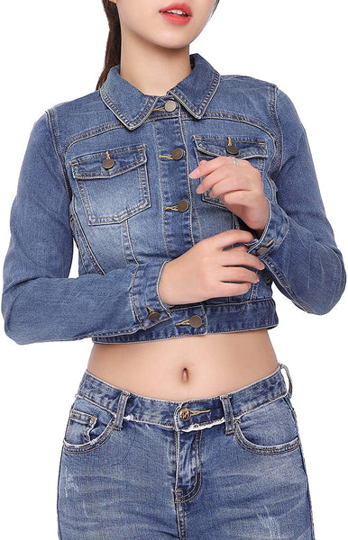 Girl's Jean Jackets Short Denim Jacket Long Sleeve Basic Button Coat Cute Womens Tops - jackets247.com