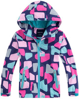 M2C Girls Outdoor Floral Fleece Lined Light Windproof Jacket with Hood - jackets247.com