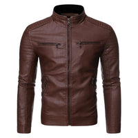 Men Biker Leather Jacket Spring and Autumn 2020 New Men's Fashion Trend Decorative Motorcycle Leather Coat - jackets247.com