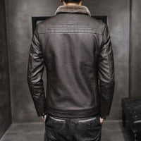 New Thick Leather Jacket Mens Winter Autumn Men's Jacket Fashion Faux Fur Collar Windproof Warm Coat Male Brand Clothing MY156 - jackets247.com