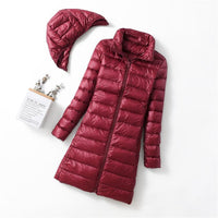 New Winter Jackets Women White Duck Down Long Coat Female Hooded Padded Parkas Ultra Light Portable Down Coats for Women - jackets247.com