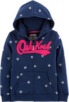 OshKosh B'Gosh Girls' Full Zip Logo Hoodie - jackets247.com