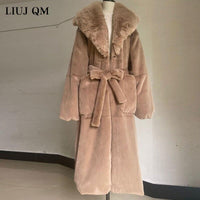 plus size Coat Winter Women Thick Warm X-Long Faux Fur Jacket Female High Quality Fluffy Rabbit Fur Coat Plus Size Loose Parkas - jackets247.com