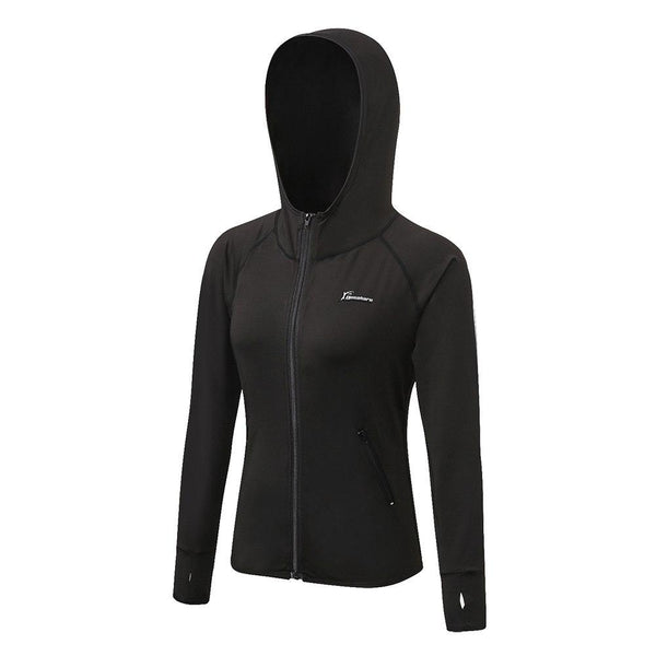 Queshark Running Jacket Women Yoga Zipper Long Sleeve Shirt Women Sport Jacket Fitness Ladies Hoodies Sports Women's Clothing - jackets247.com