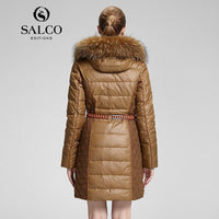 SALCO Free shipping In the new raccoon wool ms Russia's monopoly in the long hooded down jacket - jackets247.com