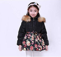 SS&CC Girls' Long Flower Printing Bowknot Winter Hooded Down Jacket - jackets247.com