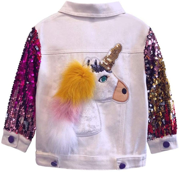 Unicorn Jean Jacket for Girls Kids & Toddler with Sparkly Sleeve, Girls' Spring Outfit Denim Jackets Outerwear - jackets247.com