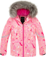 Wantdo Girl's Warm Snowboarding Jackets Waterproof Ski Jacket Fleece Winter Snow Coat Windproof Raincoats - jackets247.com