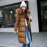 Winter jacket women high quality down coats female long slim solid color female Jackets zip fur collar women down Jacket - jackets247.com