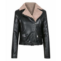 Women Leather Jacket PU Female Fleece Punk Jackets Casual Lambswool Fur Coat Cool Streetwear Fashion Motorcycle Outerwear FL078 - jackets247.com