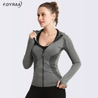 Women Sport Jacket Zipper Yoga Coat Clothes Quick Dry Fitness Jacket Running Hoodies Thumb Hole Sportwear Gym Workout Hooded Top - jackets247.com