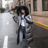 women X-long oversize blue down jackets thick casual with fur epaulet winter female down coats hooded solid piumini donna - jackets247.com