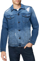 X RAY Mens Denim Jacket Washed Casual Trucker Jean Jacket for Men - mwjackets