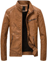 Youhan Men's Casual Zip Up Slim Bomber Faux Leather Jacket - jackets247.com