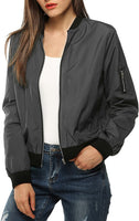 Zeagoo Women's Bomber Jacket Casual Coat Zip Up Outerwear Windbreaker - mwjackets