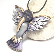 Load image into Gallery viewer, Hummingbird Pendant Purple Feathers Watch Gear Wings