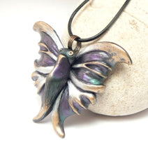 Load image into Gallery viewer, Butterfly Pendant Shimmering Purple Textured Wings Handcrafted Jewelry