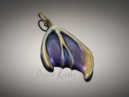 Butterfly Wing Pendant Blue Purple Sculpted Veins Metallic Gold Silver