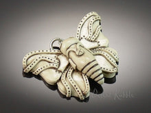 Load image into Gallery viewer, Faux Carved Bone Steampunk Butterfly Pendant