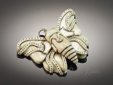 Faux Carved Bone Steampunk Butterfly Pendant