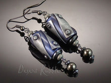 Load image into Gallery viewer, Black Blue Dangle Earrings Urban Chic Hematite Beads