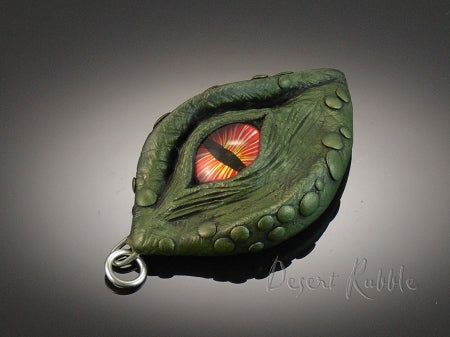Golden Green Dragon with Orange Eye Pendant, Fantasy and Medieval Jewelry