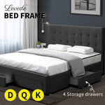 Levede Bed Frame Base With Storage Drawer Mattress Wooden Fabric King Dark Grey