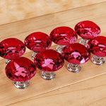10 Pcs 40mm Red Diamond Shape Glass Door Knob Drawer Cabinet Handle