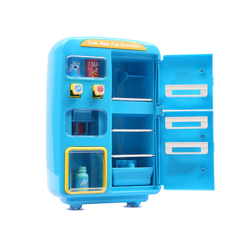 Kids Play Set 2 IN 1 Refrigerator Vending Machine Kitchen Pretend Play Toys Blue