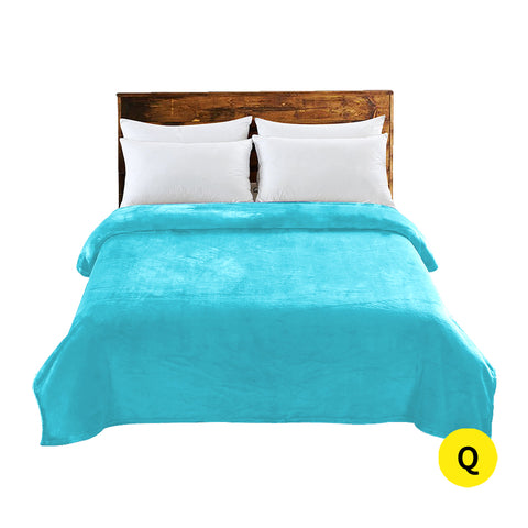 DreamZ 320GSM 220x240cm Ultra Soft Mink Blanket Warm Throw in Teal Colour