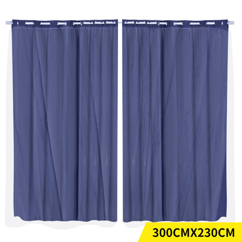 2x Blockout Curtains Panels 3 Layers with Gauze Room Darkening 300x230cm Navy
