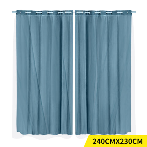 2x Blockout Curtains Panels 3 Layers with Gauze Darkening 240x230cm Turquoise
